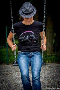 T-shirt noir femme logo parapente
