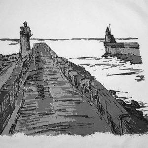 t-shirt homme dessin surf mer océan phare