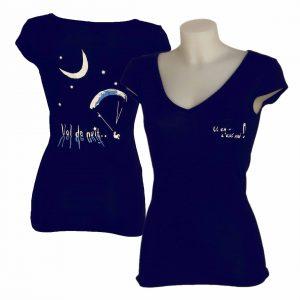 t-shirt femme col V logo parapente