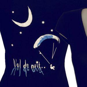 T-shirt femme logo parapente vol de nuit